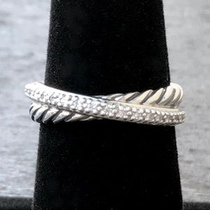 David Yurman Cable Crossover Ring with Diamonds